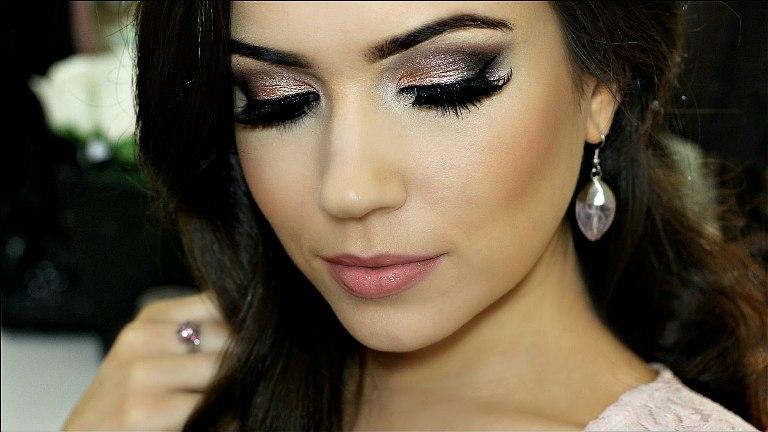 maquiagem para festa 2017 fotes e vídeos, faça um make sombra esfumaçada prata e dourada